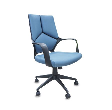 The office chair from blue cloth. Isolated over white Imagens