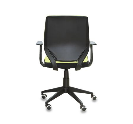 The profile view of office chair from black leather. Isolated