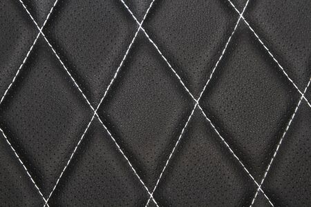 Genuine leather upholstery background for a luxury decoration in black tones Banco de Imagens