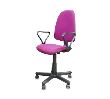 The office chair from pink cloth. Isolated over white Stock fotó
