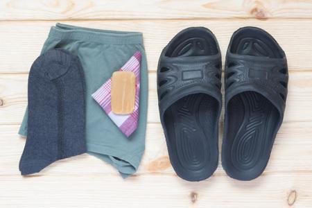 striped pajamas: clean underwear and socks