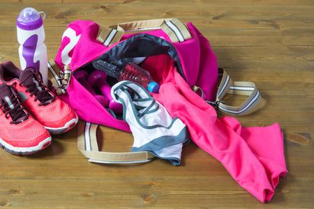 Women's sports bag with stuff inside Standard-Bild