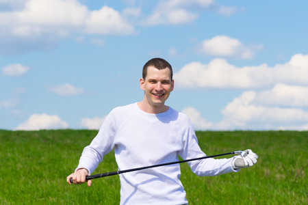 experiencing: the player is experiencing happiness from golf Stock Photo