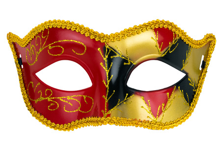 white mask: red masquerade mask on a white background