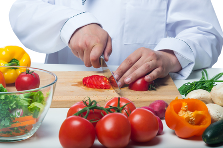 vegetable cook: Cook beautiful chopped tomatoes in vegetable salad