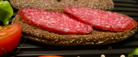 good cholesterol: sandwich with thinly sliced salami on rye bread