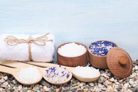 set sea salt for the skin of the body and things for the spa
