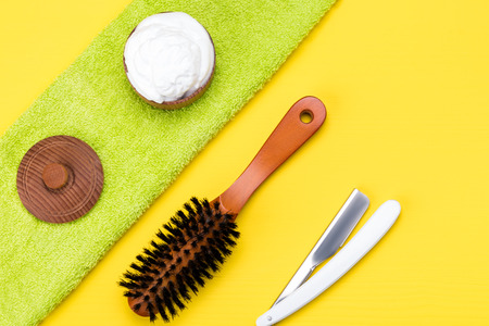 set for care of a mustache and a beard on a yellow background