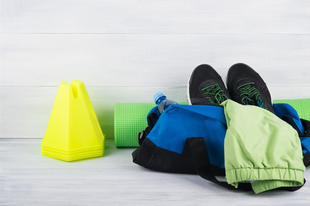 bag with things for outdoor sports Stock Photo
