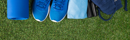 a set of blue things for sports is lying on the green grass, a long photo