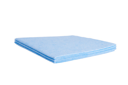 set of blue rags, for cleaning, on white background, close-up