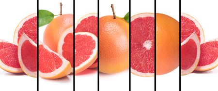 Collage of fresh different grapefruit slices on a white background with black stripes. long collection banner