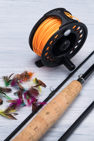 set of things for fishing rods on a light background