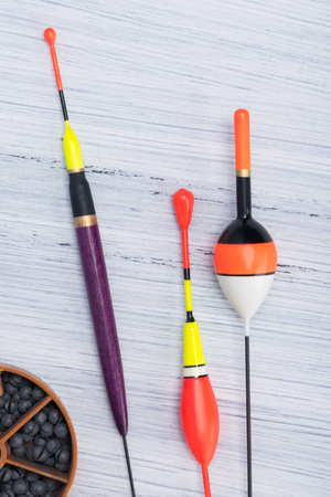 set of different float for fishing rods on a light background