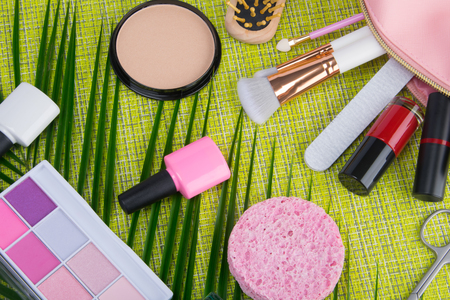 on a light green background and palm leaves, scattered in a pink cosmetic bag makeup items, brush, nail Polish, lipstick, powder, eye shadow and sponge to cleanse the face