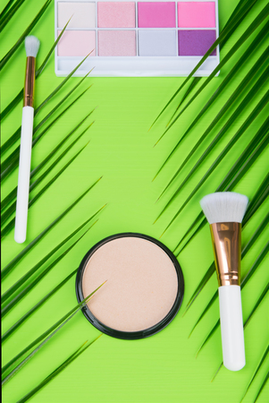 on a green background, on the edges there are two palm leaves with brushes, in the middle there is powder to improve the complexion, on top there is a set of multi-colored eye shadows Stock Photo