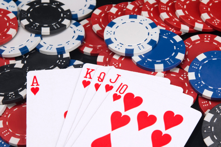 the alignment of the red cards to get a big win in poker