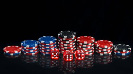 on a black background with reflection, pyramids of multi-colored poker chips arranged in a row and red dice