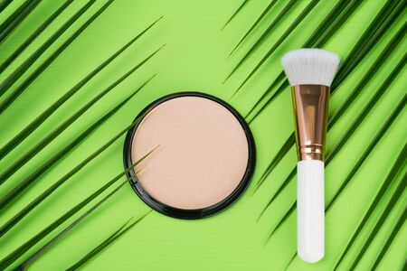 powder with brush for makeup on a green background