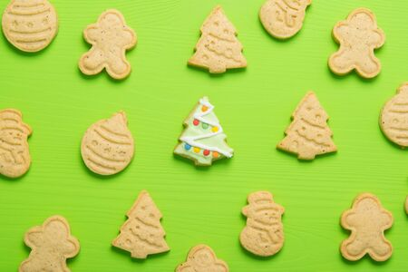 on a light green background confectionery, a variety of cookies, for the new year