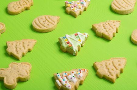christmas cookies on a green background