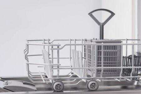 dishwasher basket for washing Cutlery, close-up