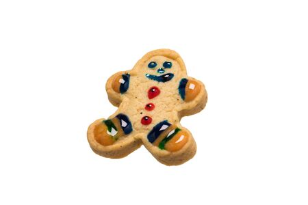 gingerbread cookie in the form of a decorated little man isolated on a white background Stockfoto