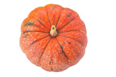 orange pumpkin, close-up, on white background