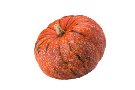 orange pumpkin beautifully lies on a white isolated background Stock Photo