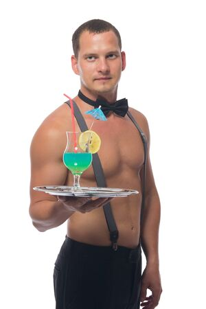 close-up, a male waiter with a bare torso, holding a tray with an alcoholic cocktail in his hand, on a white background