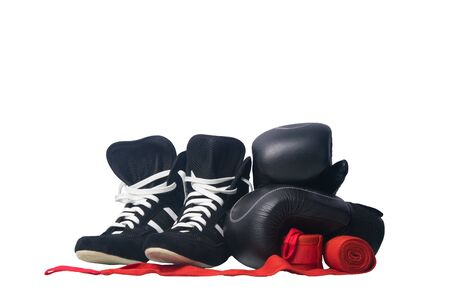 gloves, red bandages for protection from injuries in Boxing and sneakers, on a white background, close- up