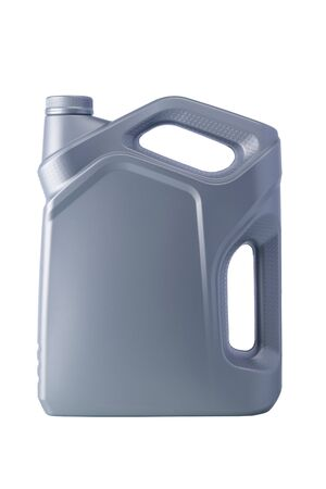 grey bottle with a volume of four liters with engine oil, isolate, close-up