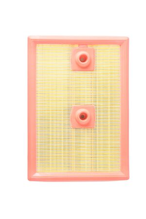 rectangular air filter for a car, top view, isolated on a white background