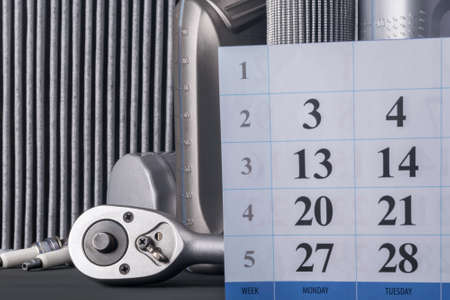 calendar with numbers for recording on car maintenance, consumables concept
