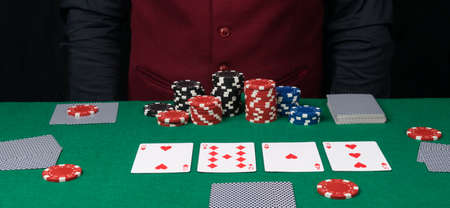 a laid out combination of cards for playing poker and small bets with a bad suit