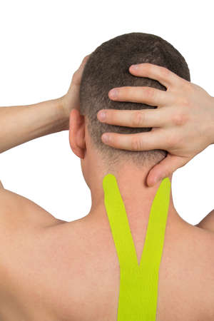 headache and pressure due to displacement of the cervical vertebrae, lifting the load with the help of tapes