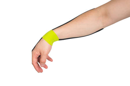 the  tape is pasted on the arm, to protect against injury during sports, on a white background