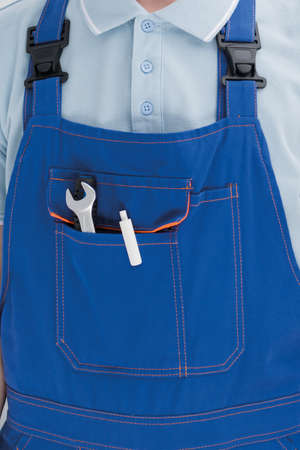 front view of pocket with master tools, background