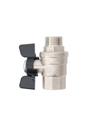 ball valve for closing and opening cold water, on white background Standard-Bild