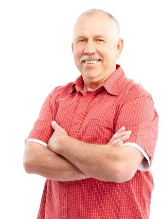 grandfather: Smiling anciano feliz. Aislado sobre fondo blanco