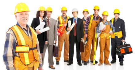 factory buildings: Industrial workers people. Isolated over white background  Stock Photo