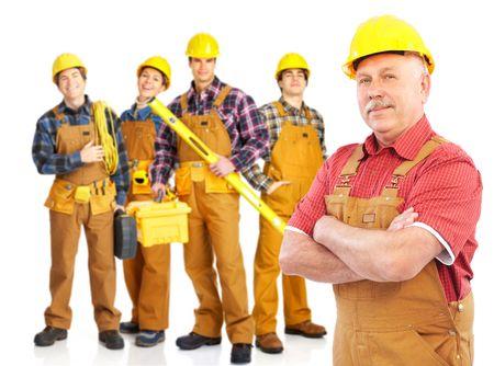 obreros trabajando: Los trabajadores industriales personas. Aislado sobre fondo blanco Foto de archivo