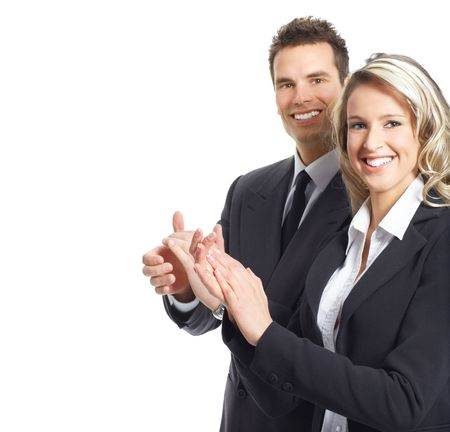 meet and greet: Young smiling  business woman and businessman  Stock Photo
