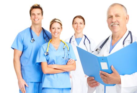 medical laboratory: Smiling medical doctors with stethoscopes. Isolated over white background