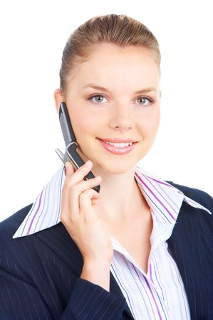 of office: young business woman calling by cellular phone.
