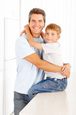 father and son: Happy family. Father and son  Stock Photo