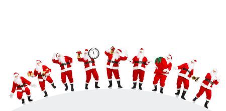 christmas backgrounds: Happy Christmas Santa. Isolated over white background