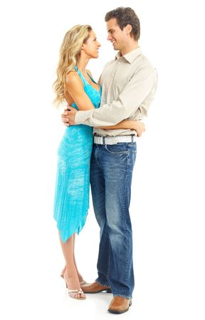 sexy couple embrace: Happy smiling couple in love. Over white background