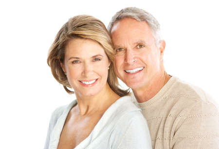 pensioner: Happy elderly couple in love. Isolated over white background   Stock Photo