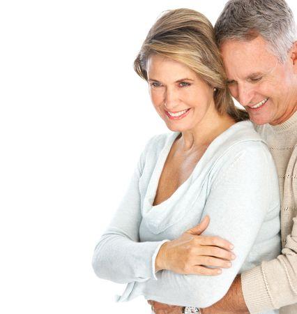 ancianos felices: Feliz pareja de ancianos en el amor. Aislado sobre fondo blanco